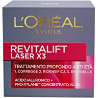 L'Oréal Paris Revitalift Laser X3 Crema Viso Antirughe Anti-Età con Acido Ialuronico e Pro-Xylane di Giorno, 50 ml