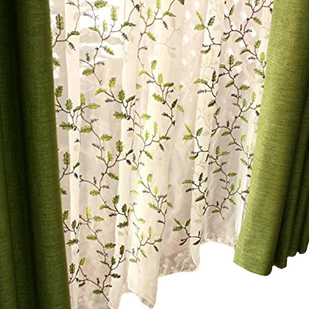 Fadfay Floral Embroidered Semi Sheer Curtains Botanical Design Elegant Green Leaves White Sheer American Country Style Room Darkening Window Curtain Panel Pair Set Of 2 54 X 84 Grommet Style Furniture
