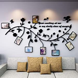 LECHEN Family Tree Wall Decal. Peel & Stick Vinyl Sheet, Easy to Install & Apply History Decor Mural for Home, Bedroom Stencil Decoration. DIY Photo Gallery Frame Decor Sticker (B)
