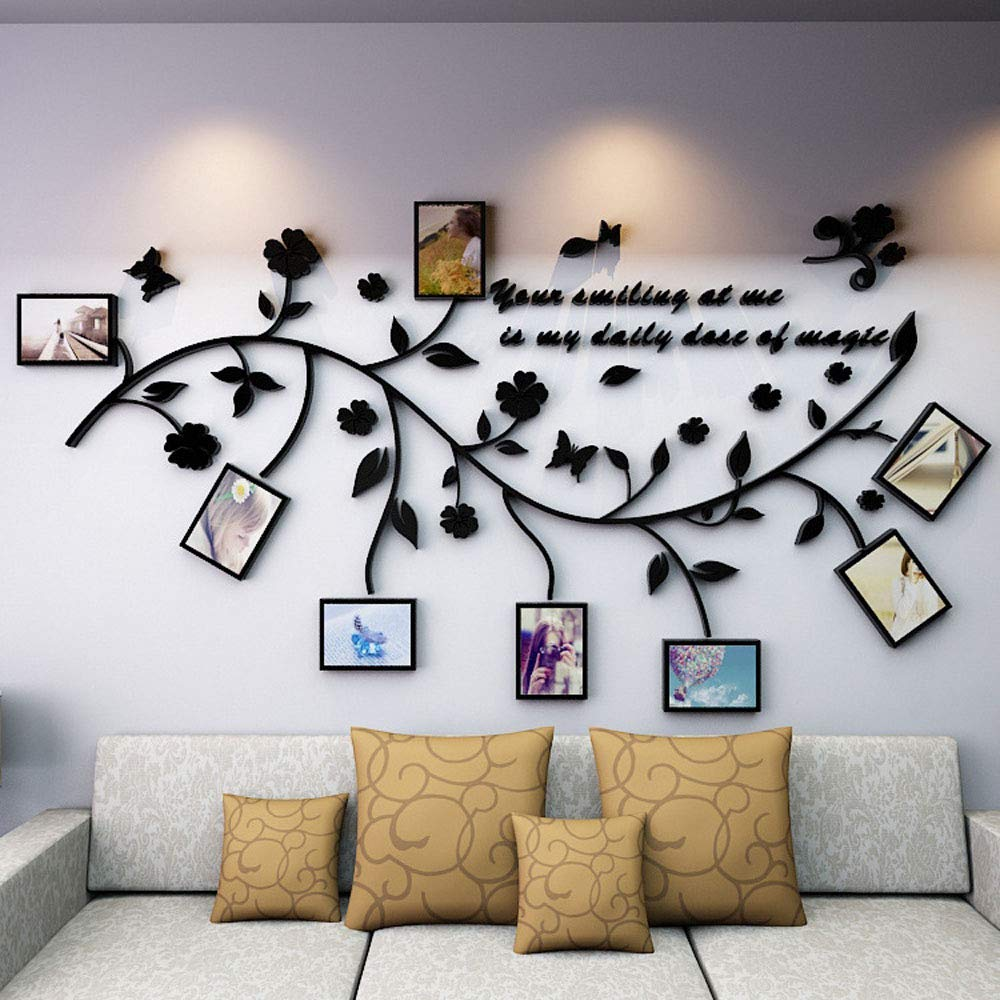 Family Tree Wall Decal. Peel & Stick Vinyl Sheet, Easy to Install & Apply History Decor Mural for Home, Bedroom Stencil Decoration. DIY Photo Gallery Frame Decor Sticker (B)