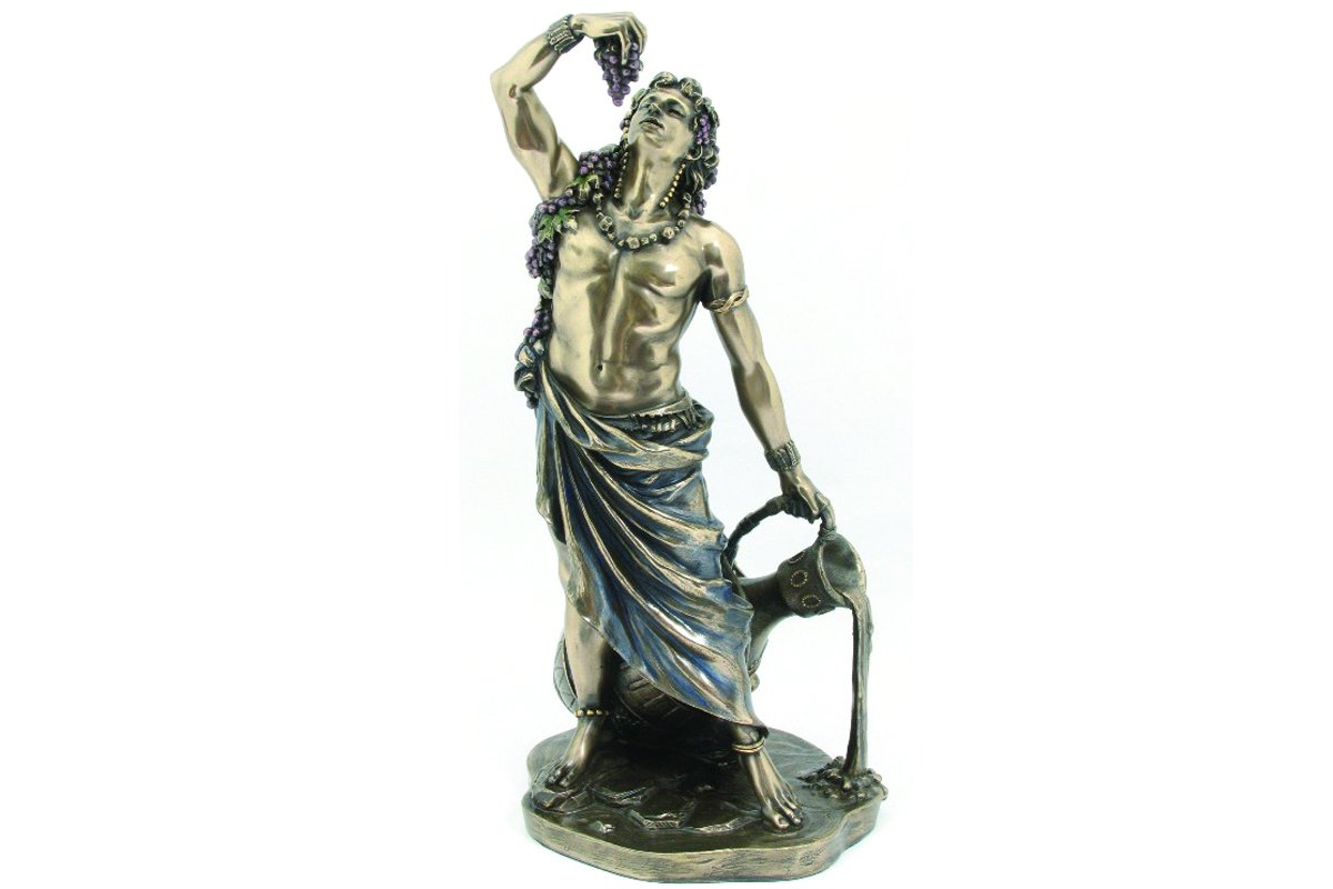 Dionysus Bucchus Greek Roman God of Wine Statue Real Bronze Powder Cast Statue, 11-inch