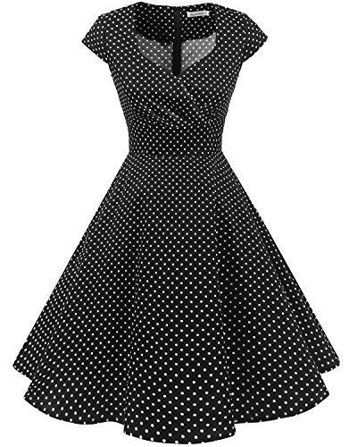 Bbonlinedress Women Short 1950s Retro Vintage Cocktail Party Swing Dresses Black Small White Dot M