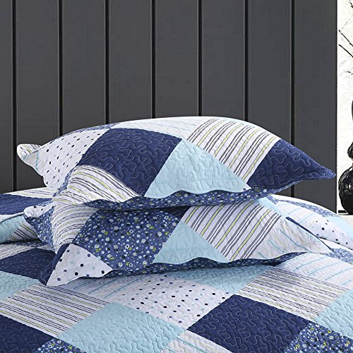 NEWLAKE Cotton Bedspread Quilt Sets-Reversible Patchwork Coverlet Set, Geometric Country Style Pattern, Queen Size by NEWLAKE (Image #5)