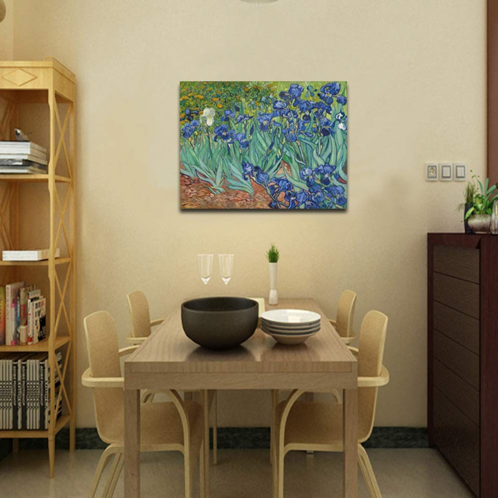 Amazon.com: Wieco Art Irises Large Modern Gallery Wrapped Floral ...