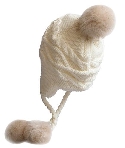 DELEY Unisex Niños Niñas Sombreros de Invierno Mujeres Gorro de Lana Orejera Forro Polar Beanie Cap