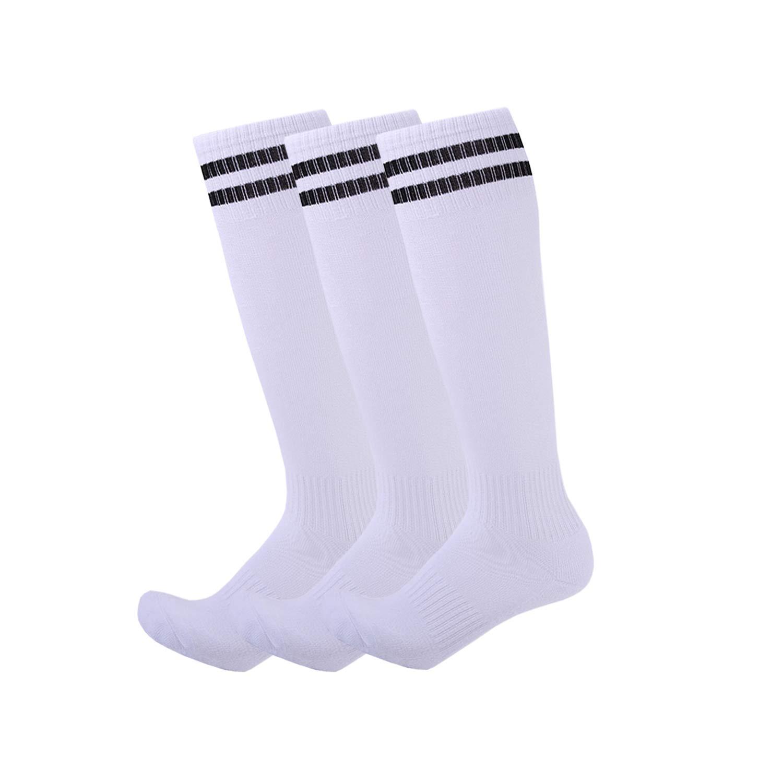 3 Pairs Boys Girls Soccer Socks Towel Cushioning Compression Sport Socks Cotton Team Socks for Children & Kids & Teenagers White Strips by EBlife