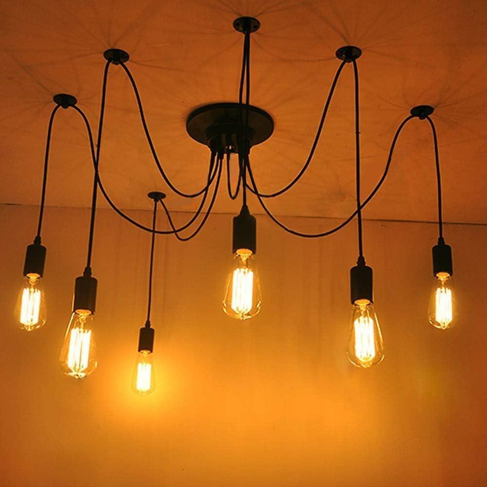 LIGHTESS L/ámparas de Ara/ña Iluinaci/ón de Techo Luz Colgante 6 Interfaces Casquillo E27 M/áx 40W