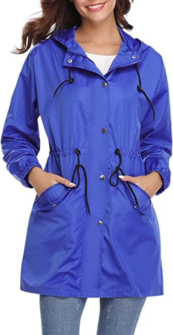 Aibrou Manteau Imperméable Femme avec Capuche Veste de Pluie Zippé Pliable Long Coupe Vent à Manches Longues Pour Sport Voyage Camping Randonnée
