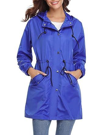 Aibrou Giacca Impermeabile Donna con Cappuccio Lunga Antipioggia Giacca a Vento Cappotto Lungo Casual per Escursioni in Campeggio
