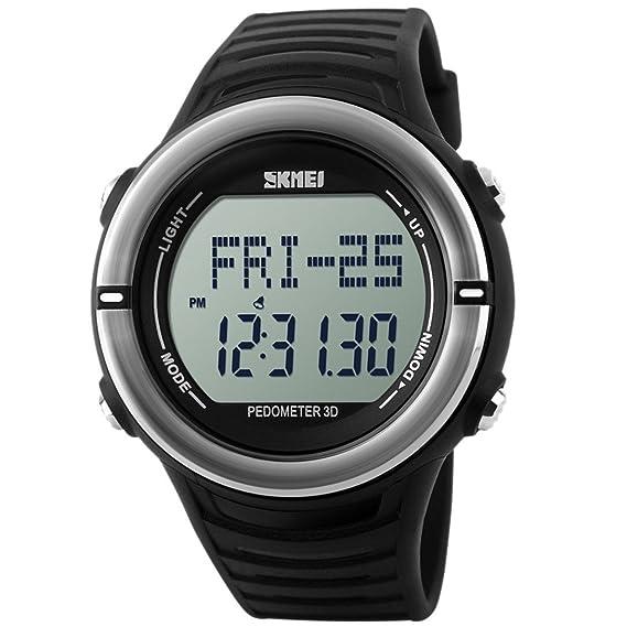 Panegy - Reloj Digital Deportivo con Múltiples Funciones Resistente al Agua con Podómetro y Monitor de Frecuencia de Corazón para Hombres-Color Plata: ...