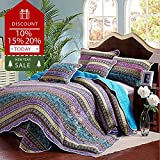 Floral Striped Quilt Set Queen Cotton Coverlet Set European Style Vintage Bedspread Set Exquisite Flowers Printed Quilt Set Solid Reversible Coverlet Set Luxury Warm Winter Quit Comforter Set, Style2
