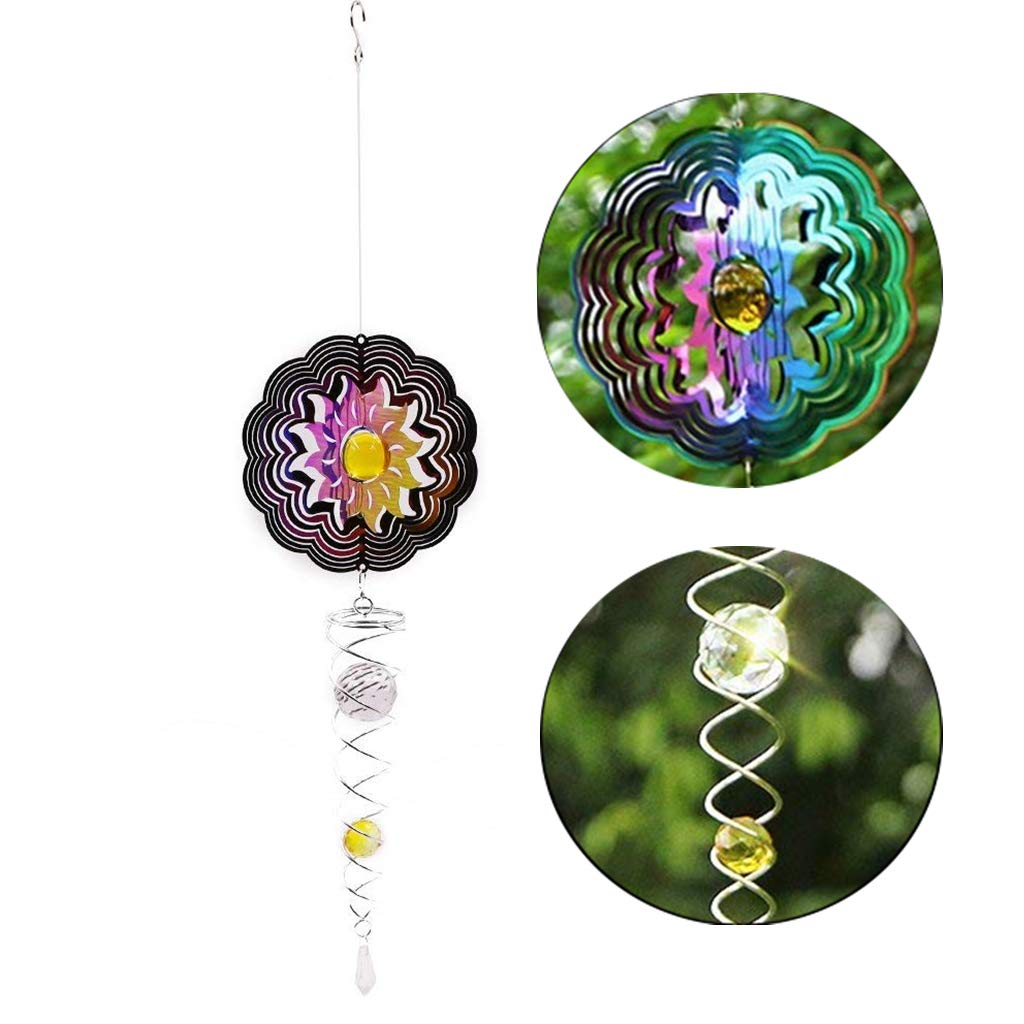 Ymeibe Sun Hanging Spinner Garden Galvanized Wind Spinner Outdoor with Helix Spiral Tail and Glass Ball 3-D Stainless Steel Kinetic Twisting Decor for Patio, Deck or Yard