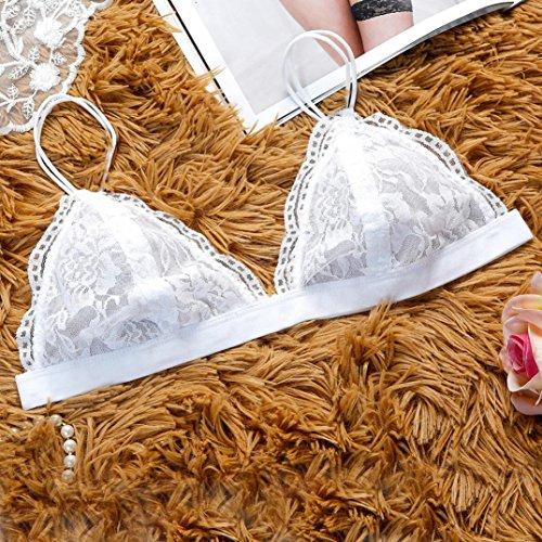 Sous-vêtements LILICAT Femmes Floral Dentelle Soutien-gorge de brallette triangulaire Top de récolte Lingerie (White, L)