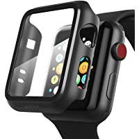 PZOZ Apple Watch 42mm フィルム PET超薄型 アップルウォッチ ケース 耐衝撃性 落下防止 脱着簡単 PC カバー Seires 2/3 42mm 対応 (ブラック)