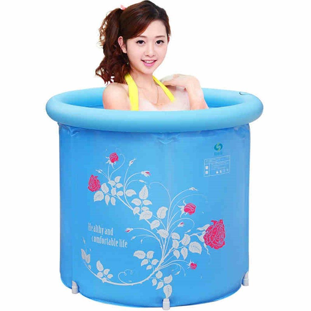 LXJYMX Haushalts-aufblasbare Badewanne Erwachsener oder Kind Faltbare Plastikbadewanne Badewanne Waschbecken-Badewanne, blau (mit Luftpumpe) - Tragbare Badewanne (Farbe : A, größe : M)