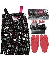 Monster High Big Girls Pink Black Top Sandals Headband Spa Essentials 7-12