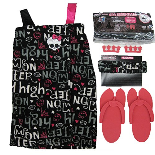 Monster High Big Girls Pink Black Top Sandals Headband Spa Essentials 7-8 (Monster High Girls Names)
