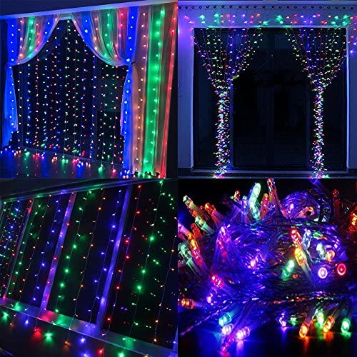 Neretva Window Curtain String Lights, 300 LEDs String Fairy Lights, 9.8×9.8ft, 8 Modes Linkable,Twinkle LED String Lights for Christmas Party Wedding Patio Lawn Garden Decorative Lights Multicolor