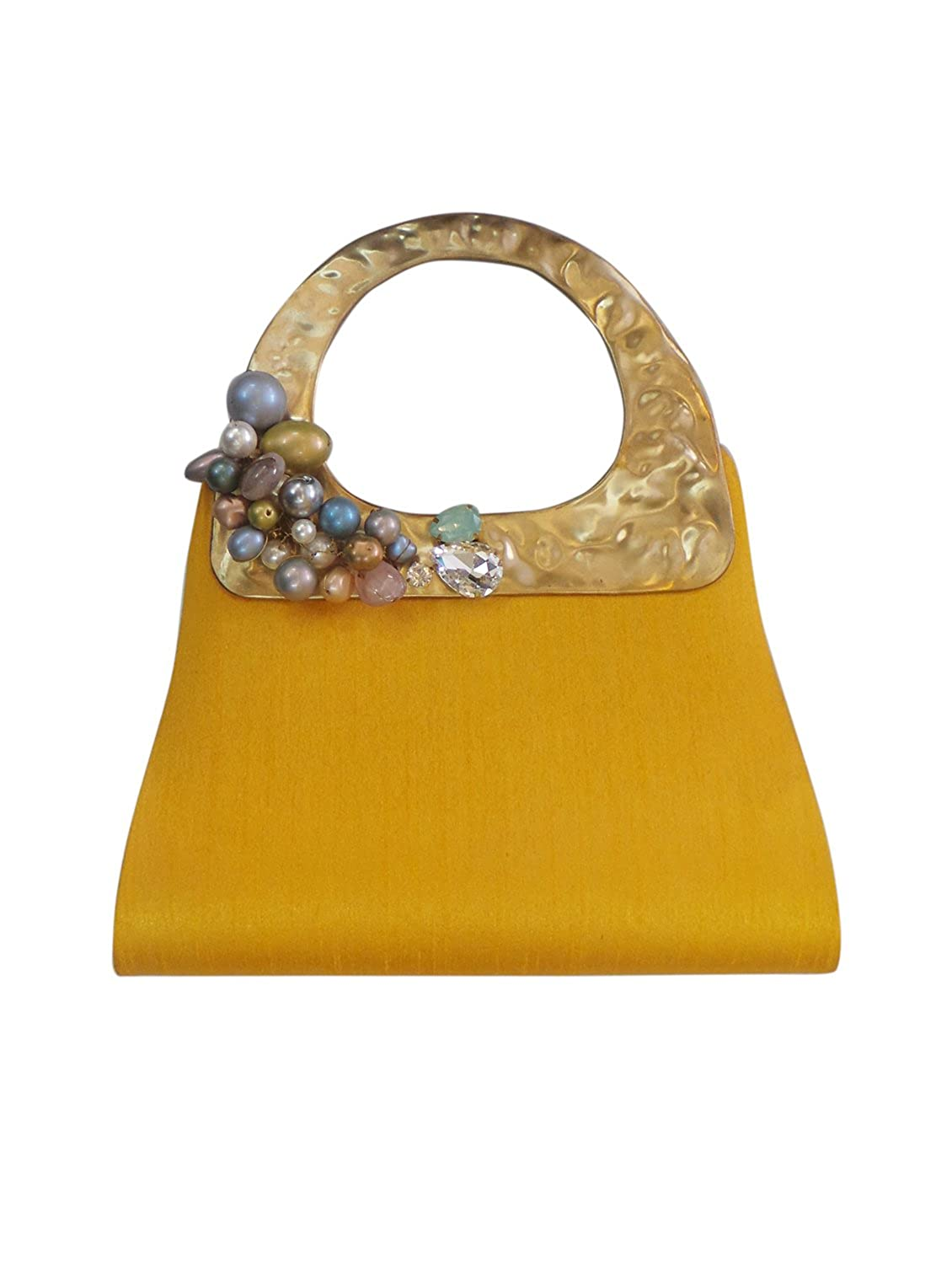 Bhamini Yellow Quirky Raw Silk Bag with Grape Brooch鈥