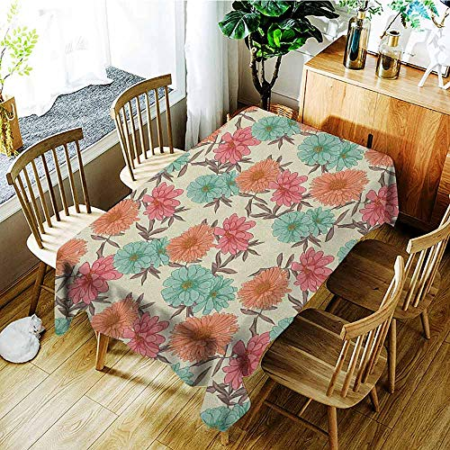 Gardening Ornamental Grasses - XXANS Large Rectangular Tablecloth,Floral,Gardening Ornamental Design with Summer Flowers Wildlife Illustration Warm Colored,Fashions Rectangular,W60X90L Multicolor