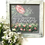Painted flowers art work, Hello beautiful flowers, wall art, hand painted on window screen , porch decor