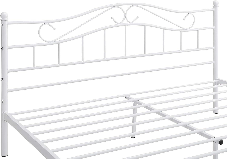 en.casa Florencia con cabecero curvado // recubrimiento en polvo // somier incluido Cama de metal doble 140 x 200cm blanca