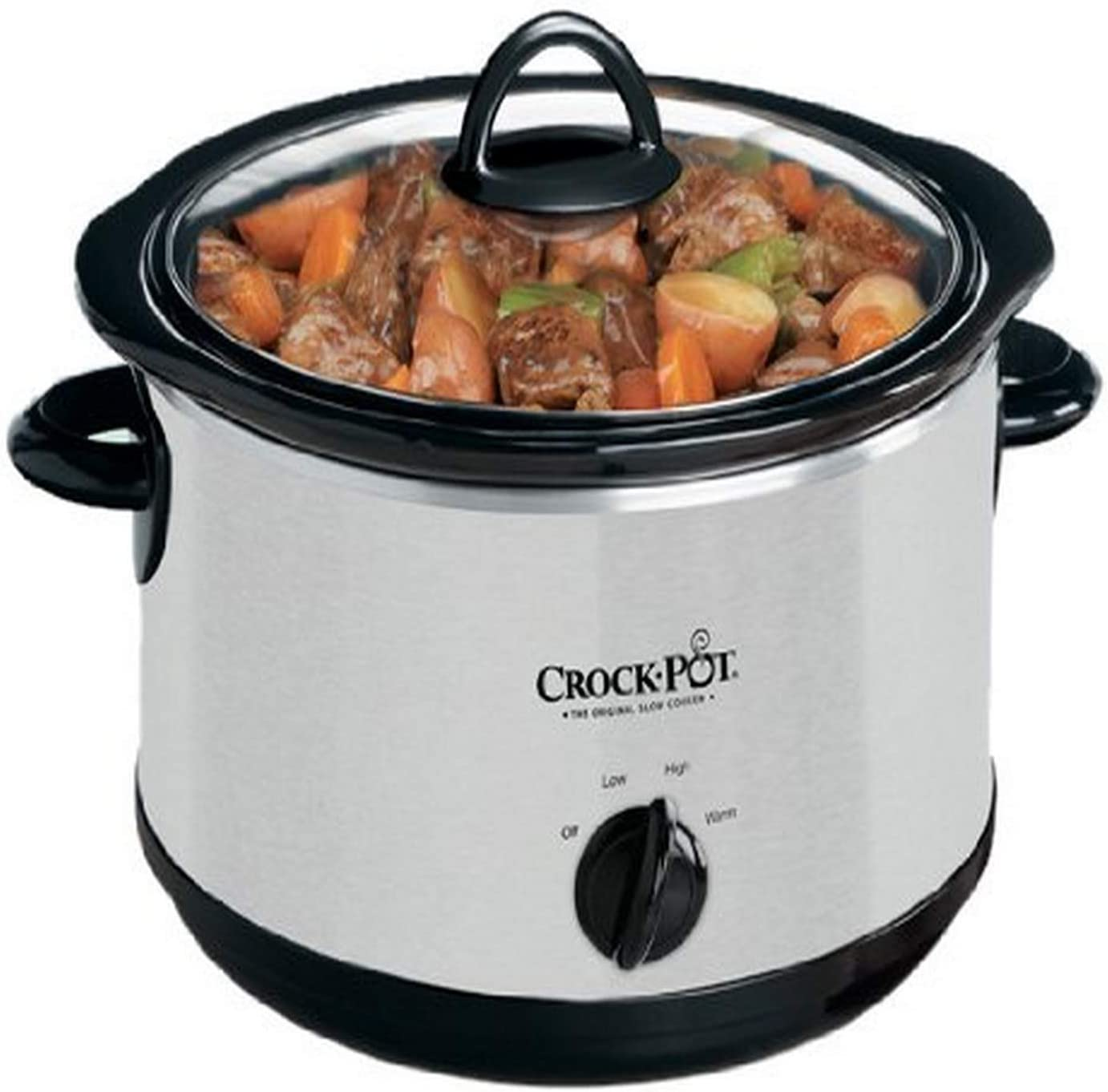 Silver Crock-Pot SCR503SP 5-Quart Smudgeproof Round Manual Slow Cooker with Dipper