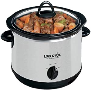 Crock-Pot SCR503SP 5-Quart Smudgeproof Round Manual Slow Cooker with Dipper, Silver