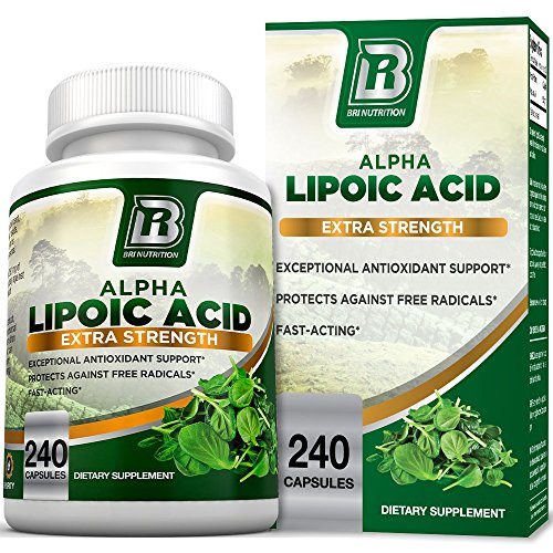 BRI Nutrition Alpha Lipoic Acid 250mg 240 Count Vegetable Cellulose Capsules - Universal Antioxidant High Potency - 240 Servings