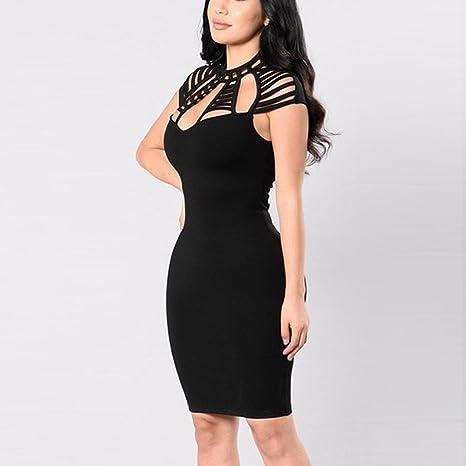 Soupliebe Vestido Largo sin Mangas Vestido Hueco Vestido Mujeres Delgado Falda de la Cadera Vestido de Elegancia Vestido de Oficina de Trabajo Vestido ...