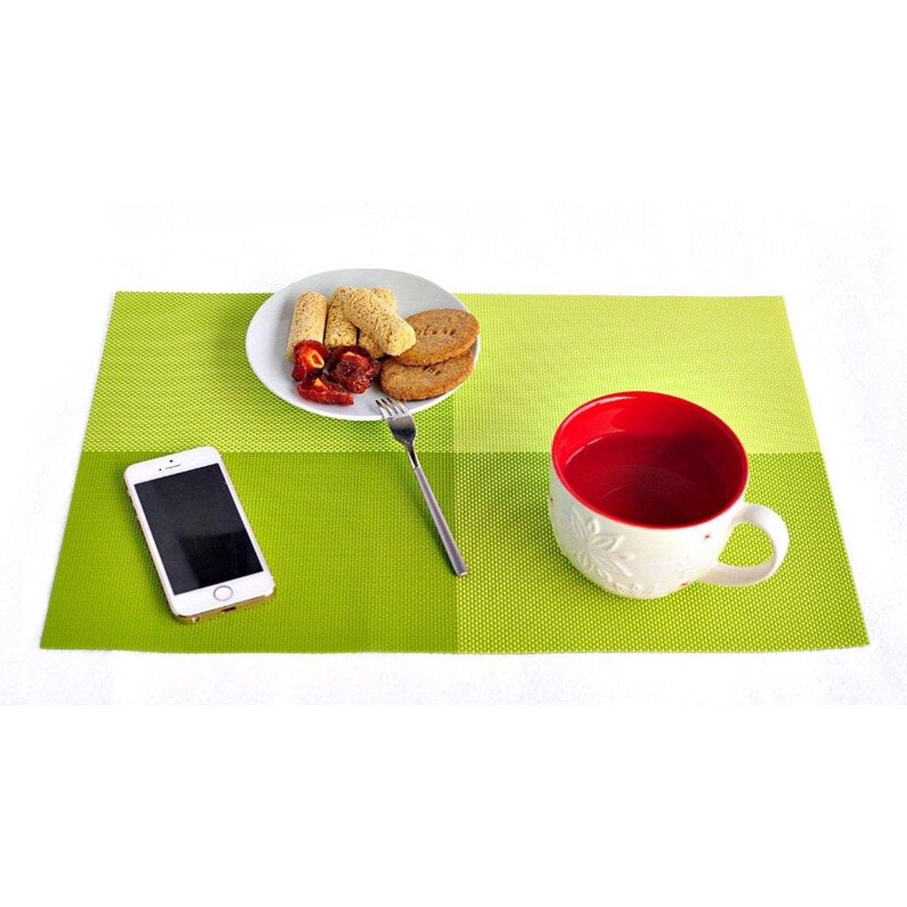 ZwW電子長方形PVC Woven耐熱プレースマット、防水anti-scaldingテーブルマット、洗濯可能グリッド印刷レストランディッシュボウルプレートマット グリーン 156423  グリーン B07FSGPQFM