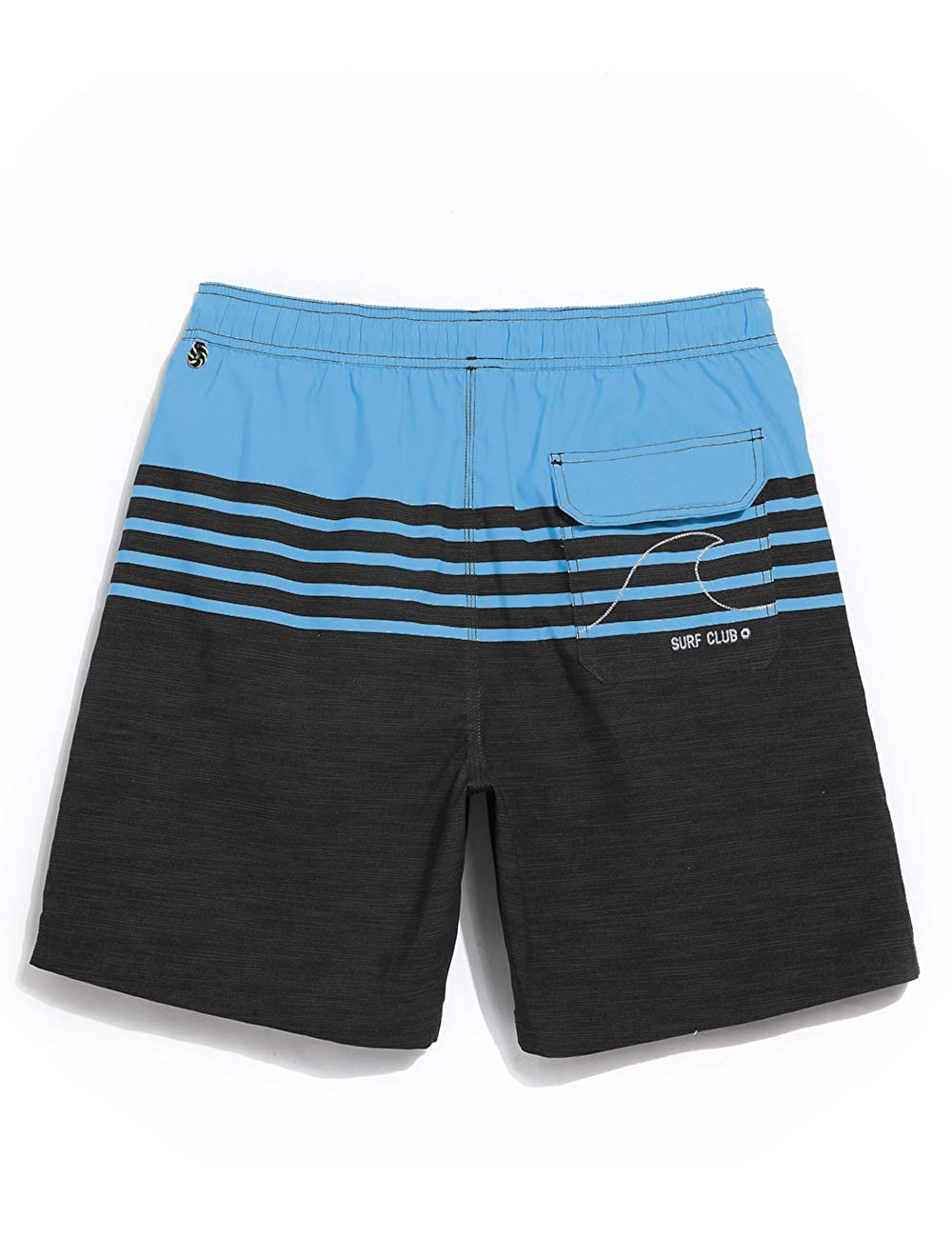 QRANSS Mens Quick Dry Swimming Trunks Bathing Suit Shorts Striped Mesh Liner