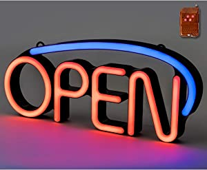 Ultima LED Neon Open Sign for Business: Premium Lighted Sign Open with 2 Modes, Adjustable Flashing Speed, and Remote Control – Indoor Electric Light Up Signs for Stores (22.5 x 9.5 in, Model 6)
