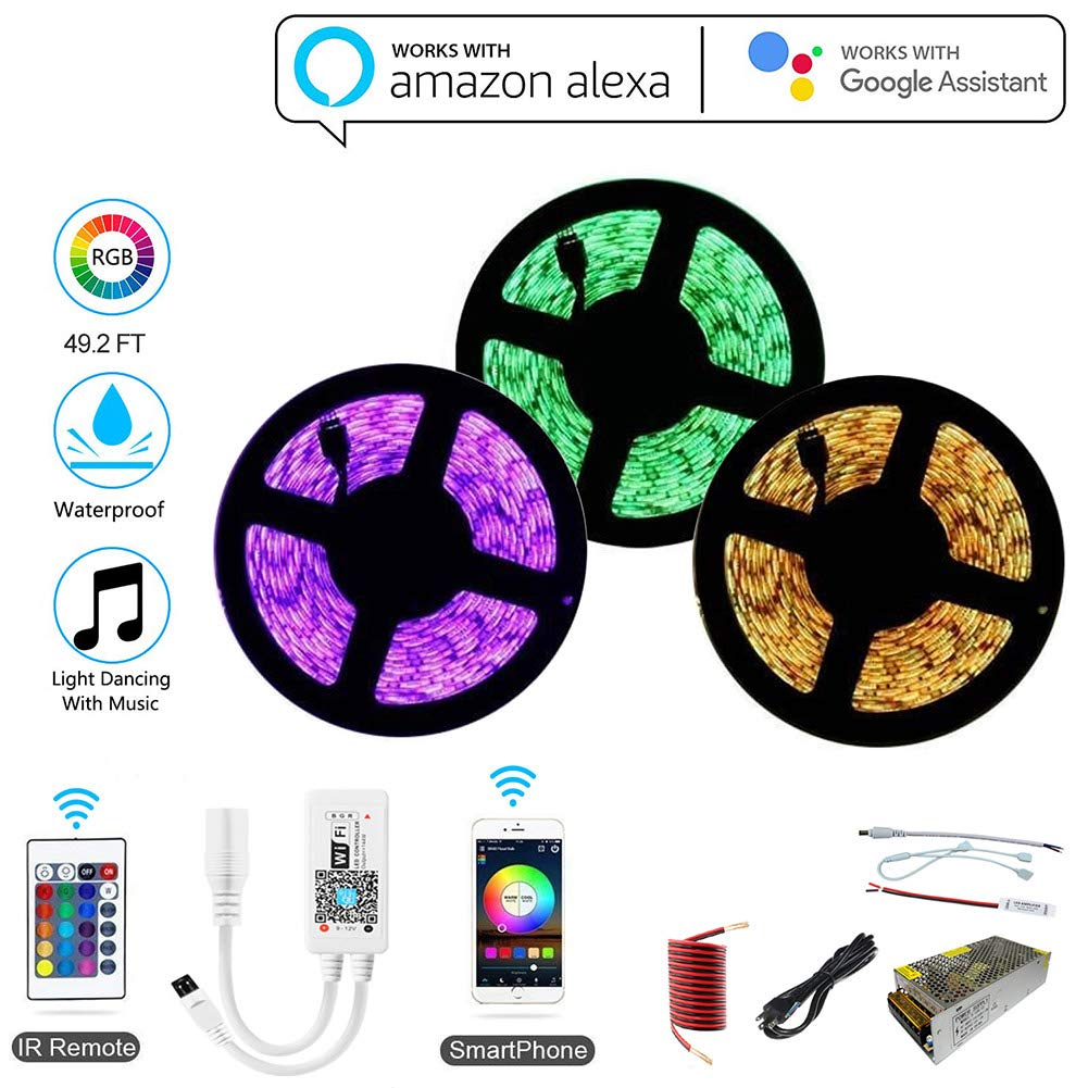 HZHYG 15M LED Strip Lights, 49.2FT 5050 RGB Waterproof IP65 LED Lights,WiFi Wireless Smart Phone APP Controlled Light Strip Kit, Working with Android and iOS System,IFTTT,Google Assistant and Alexa