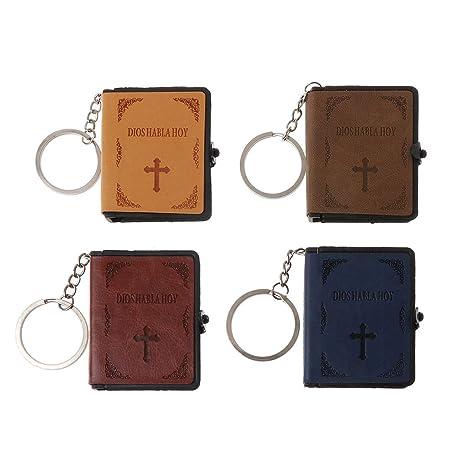 Dabixx Keychain, Libro de la Sagrada Biblia Llavero de Cuero Papel en Miniatura Espíritu Espiritual Llavero de Jesús Jesús - Español