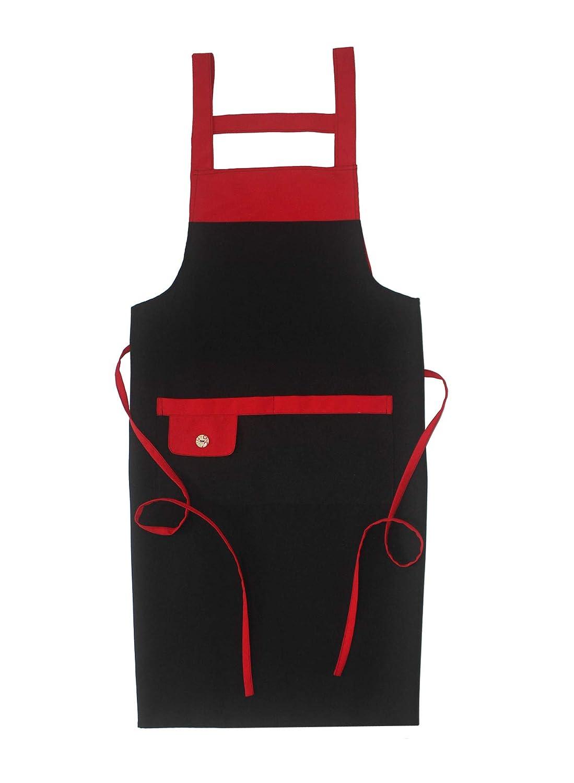 5 Set Black Professional Resist Water Adjustable Extra Long Bib Apron 3 Pockets Home Kitchen Garden Restaurant Cafe Bar Pub Bakery for Cooking Chef Baker Servers Craft Unisex CAALEE INC WQ10215 SEW UR LIFE