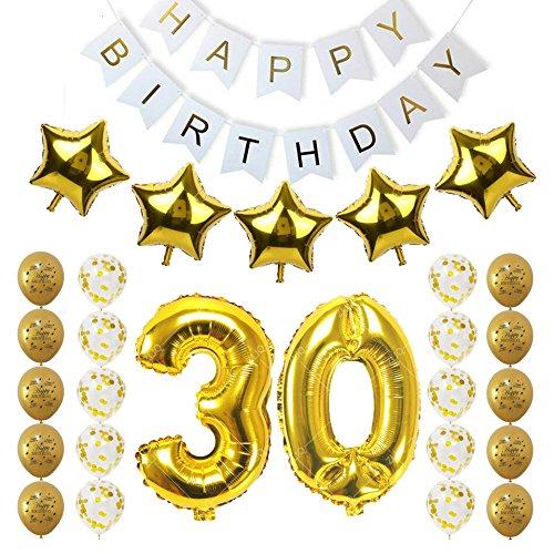 fcy party store Juego de 30 globos de oro con número de 30 ...