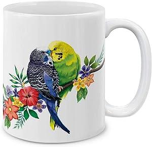 MUGBREW Budgie Parakeet Birds Ceramic Coffee Mug Tea Cup, 11 OZ