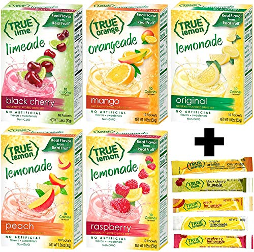 True Lemon Assorted Beverage Pack: (5boxes 10ct each) with 5 FREE BONUS Sticks of Lemonade! True Lemon Original Lemonade, True Peach Lemonade, True Black Cherry Limeade, True Mango Orange and True Raspberry Lemonade. Assorted True Lemonade Drink Mixes.