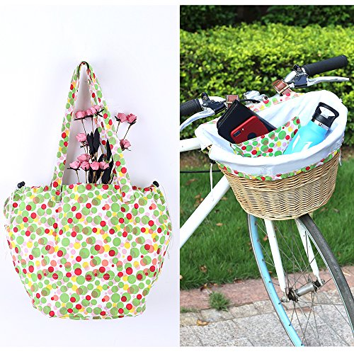 YEHTEH Wicker Bike Basket with Basket Liner, Bicycle Basket Original Color