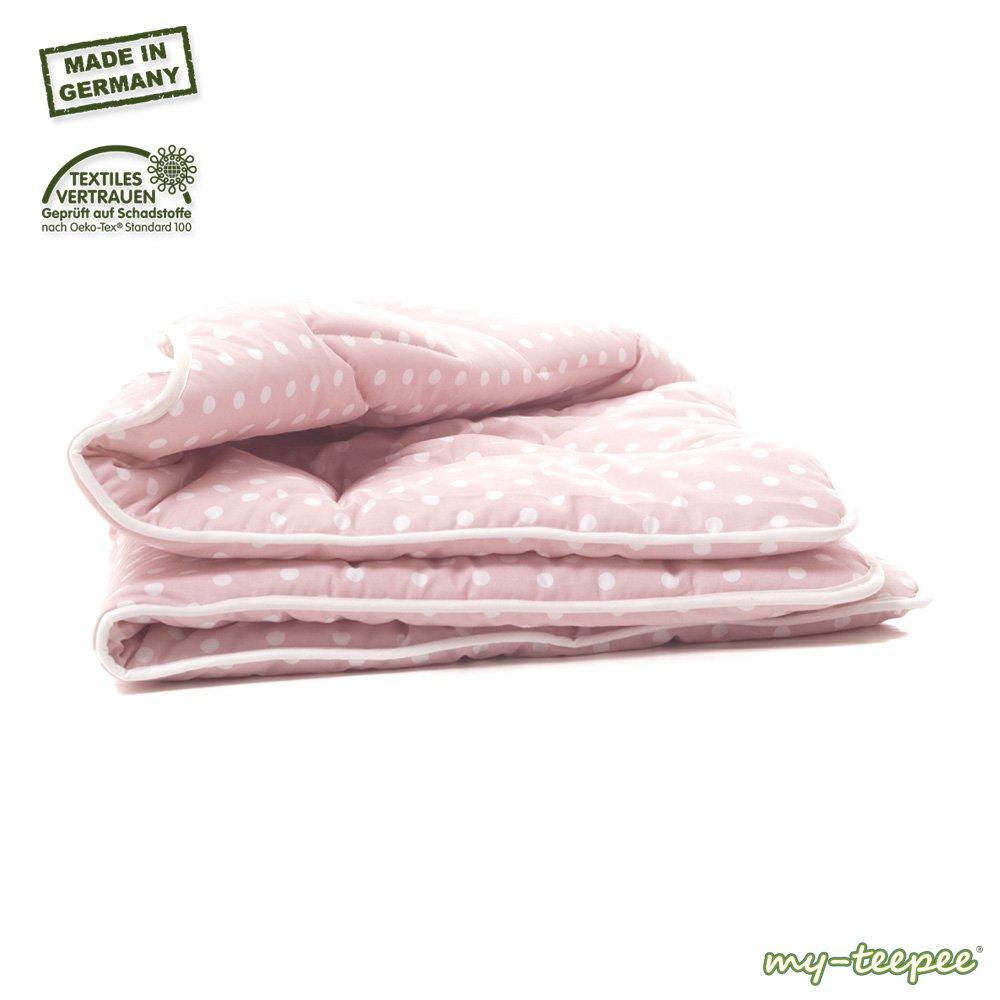 my-teepee MT03ro dicke Spieldecke, Bezug 100% Baumwolle Ökotex 100, Größe ca. 100 x 100 cm, made in Germany, passend zu my-teepee Kinder Spielzelt rosè, rosè mit weißen Punkten