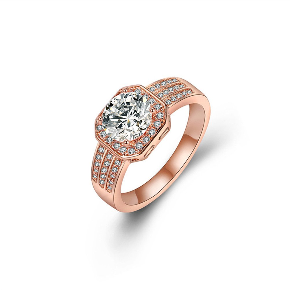 Mrsrui 18k Rose Gold Plated Heart and Arrows Cut Cubic Zirconia Solitaire Wedding Engagement Rings
