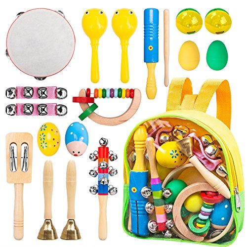 Tambourine Carrying Case - INNOCHEER Kids Musical Instruments, ASTM Certified, FDA Approved, Toddler Wooden Musical Toys with Backpack, 17 Pieces