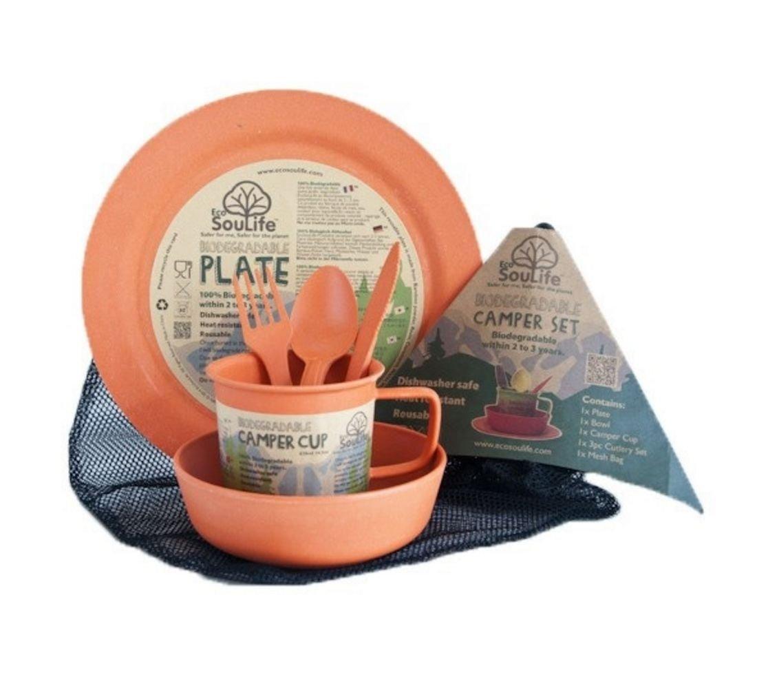 Ecosoulife Biodegradable Camper Set - Plate, Bowl, Cup, Cutlery Set, Mesh Bag (Orange) by Ecosoulife