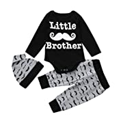 Happy Kido Newborn Infant Baby Boy's Print Romper Tops+Long Pants +Hat Clothes Set (Black, 6-12 Months)