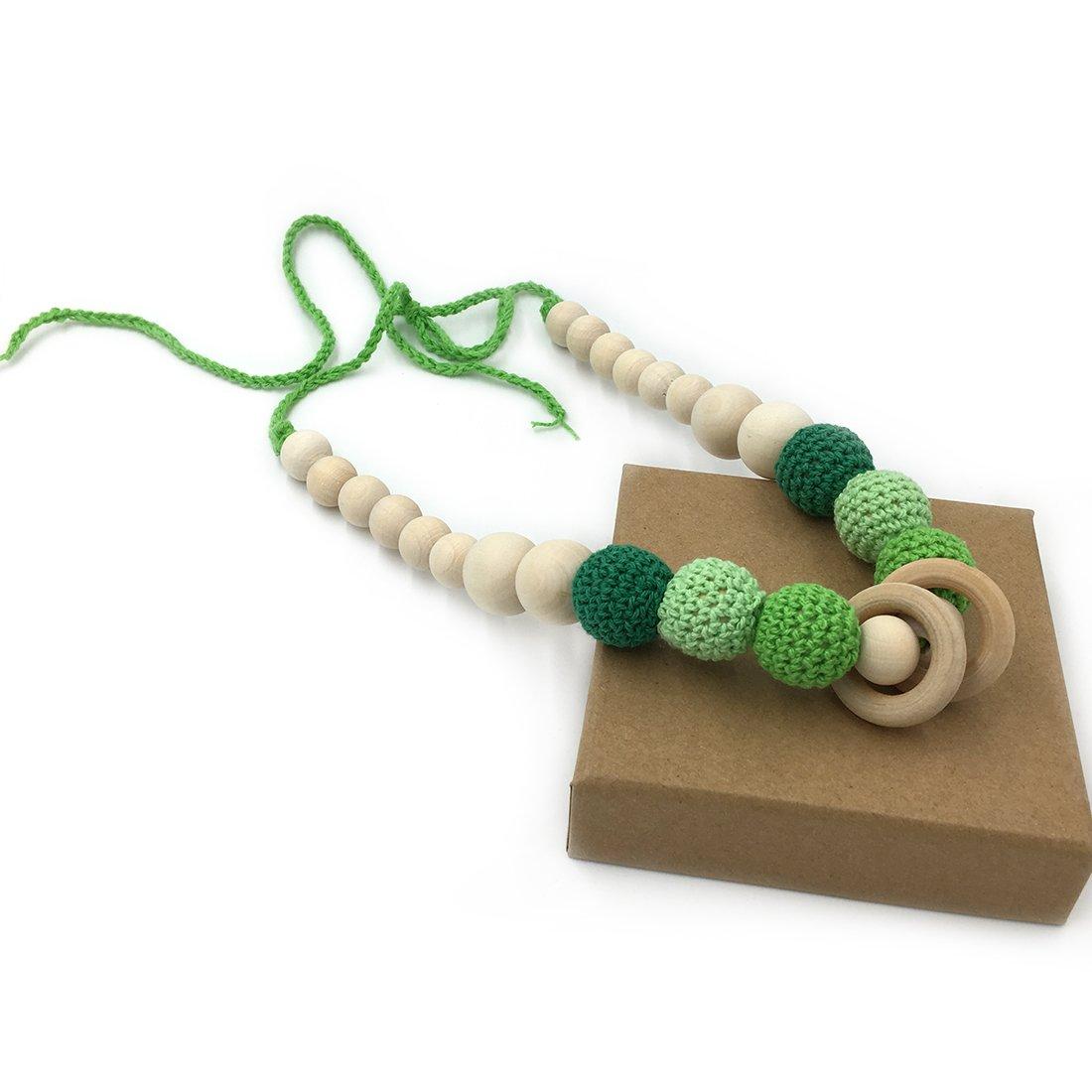 Azul Coskiss Azul Collares de ganchillo Collar de dientes de beb/é Collar de dentici/ón seguro con juguete de madera hecho a mano natural org/ánica Mam/á Collar de dientes de madera para ni/ños