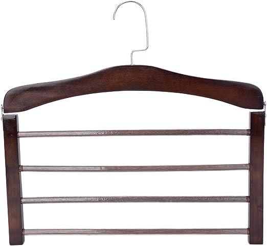 Wooden 4 Tier Trouser Bar Hanger Non Slip Multi-Layer Space Saving Pants Rack