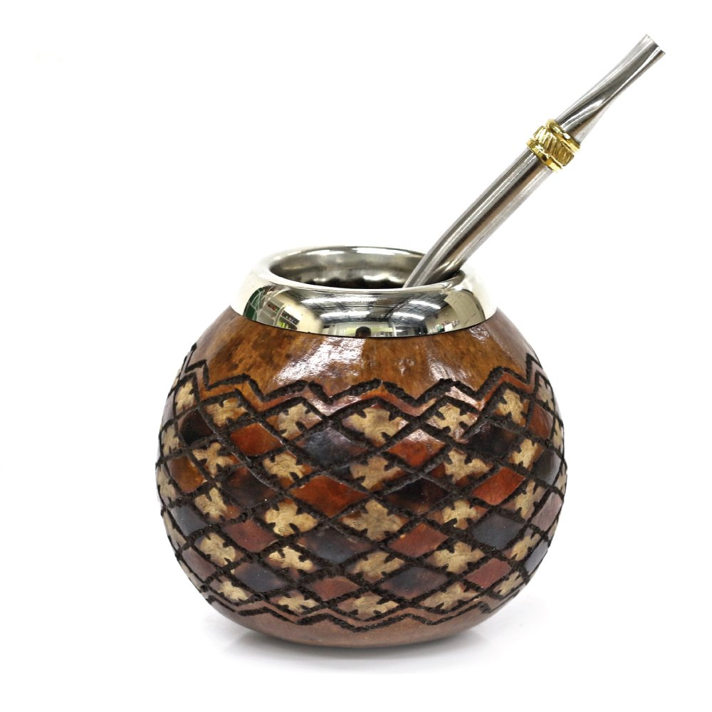 Tealyra - Hand Made Carved - Yerba Mate Gourd Khombus Style - Stainless Steel Bombilla Straw - Made in Argentina - Authentic Argentinian Mate Cup (#1608) by Tealyra