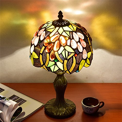 EuSolis E26 Tiffany Traditional Bedside and Table Lamps Handcrafted 8 Inch Flowers Stained Glass Luxury Bedside Lamps European Lamps for Living Room Bedroom Vintage 01 by EuSolis (Image #3)