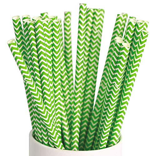 Webake 100 Pack Chevron Paper Straws Wave Patterned Drinking Straws Bulk 7.75 Inch Disposable Biodegradable Restaurant Supplies Luau Decorations Party decorating, Summer Green Striped